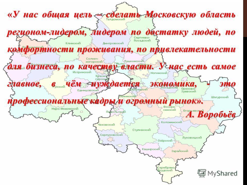 «У нас общая цель – сделать Московскую область регионом-лидером, лидером по достатку людей, по комфортности проживания, по привлекательности для бизнеса, по качеству власти. У нас есть самое главное, в чём нуждается экономика, - это профессиональные