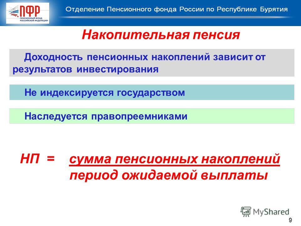 Доходность пенсионных накоплений зависит от результатов инвестирования Наследуется правопреемниками Накопительная пенсия Не индексируется государством НП = сумма пенсионных накоплений период ожидаемой выплаты 9