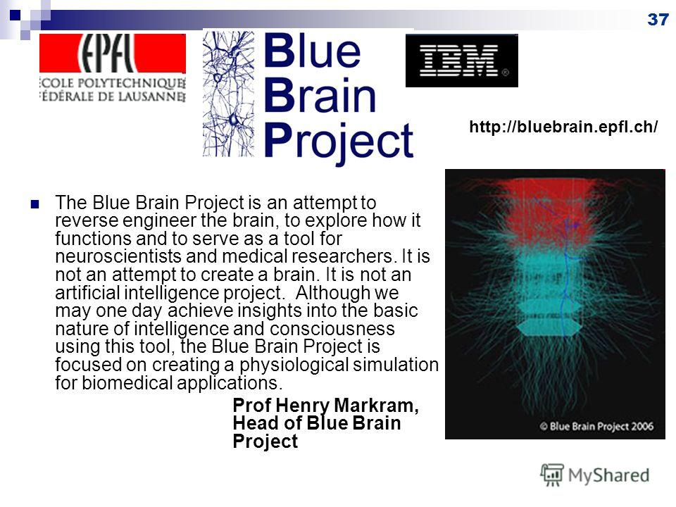 The Blue Brain Project is an attempt to reverse engineer the brain, to explore how it functions and to serve as a tool for neuroscientists and medical researchers. It is not an attempt to create a brain. It is not an artificial intelligence project.