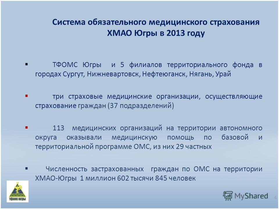 Система обязательного медицинского страхования ХМАО Югры в 2013 году ТФОМС Югры и 5 филиалов территориального фонда в городах Сургут, Нижневартовск, Нефтеюганск, Нягань, Урай три страховые медицинские организации, осуществляющие страхование граждан (