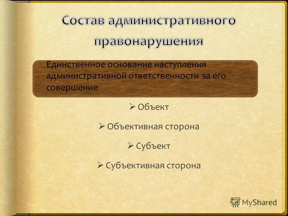 Единственное основание наступления административной ответственности за его совершение Объект Объективная сторона Субъект Субъективная сторона