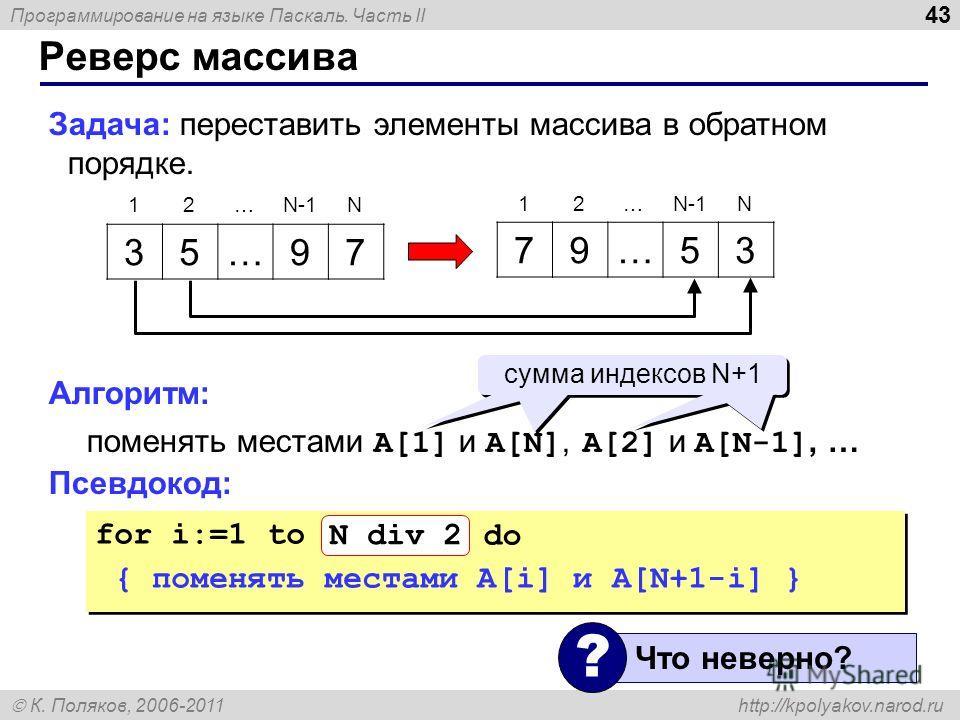 Программирование на языке Паскаль. Часть II К. Поляков, 2006-2011 http://kpolyakov.narod.ru Реверс массива 43 Задача: переставить элементы массива в обратном порядке. Алгоритм: поменять местами A[1] и A[N], A[2] и A[N-1], … Псевдокод: 35…97 79…53 12…