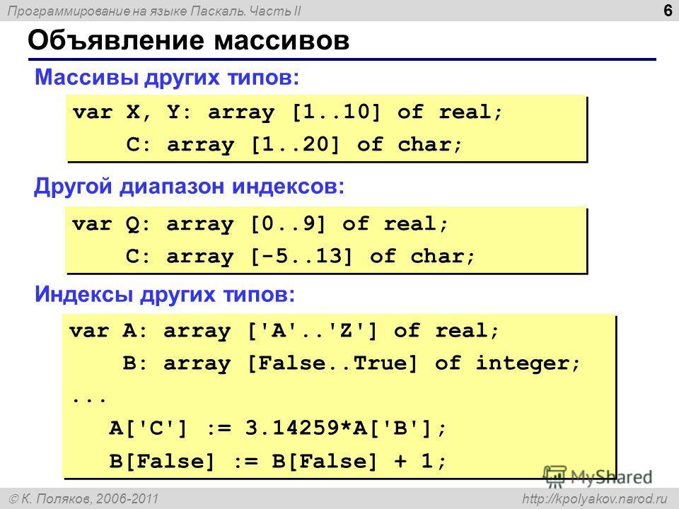 Программирование на языке Паскаль. Часть II К. Поляков, 2006-2011 http://kpolyakov.narod.ru Объявление массивов 6 Массивы других типов: Другой диапазон индексов: Индексы других типов: var X, Y: array [1..10] of real; C: array [1..20] of char; var X,