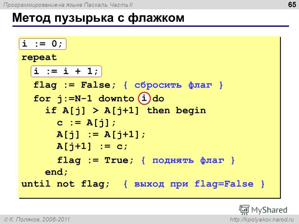 Программирование на языке Паскаль. Часть II К. Поляков, 2006-2011 http://kpolyakov.narod.ru Метод пузырька с флажком 65 i := 0; repeat i := i + 1; flag := False; { сбросить флаг } for j:=N-1 downto 1 do if A[j] > A[j+1] then begin с := A[j]; A[j] :=