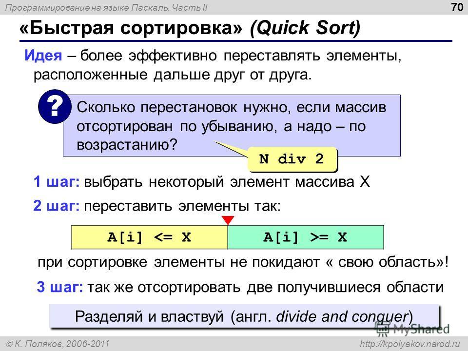 Программирование на языке Паскаль. Часть II К. Поляков, 2006-2011 http://kpolyakov.narod.ru «Быстрая сортировка» (Quick Sort) 70 Идея – более эффективно переставлять элементы, расположенные дальше друг от друга. Сколько перестановок нужно, если масси