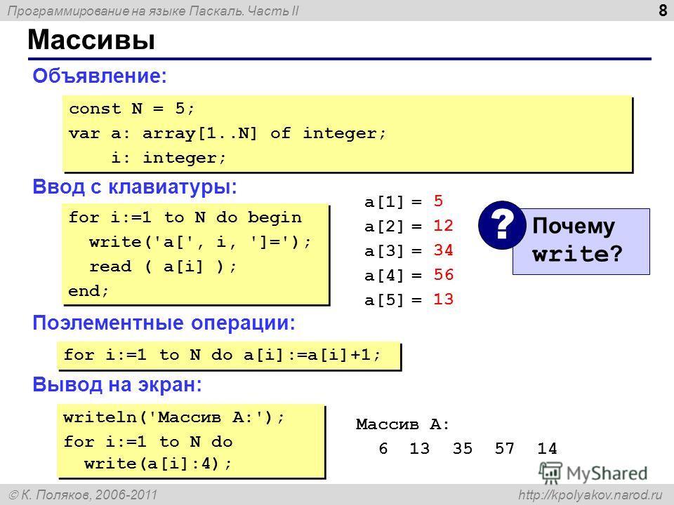 Программирование на языке Паскаль. Часть II К. Поляков, 2006-2011 http://kpolyakov.narod.ru Массивы 8 Объявление: Ввод с клавиатуры: Поэлементные операции: Вывод на экран: const N = 5; var a: array[1..N] of integer; i: integer; const N = 5; var a: ar