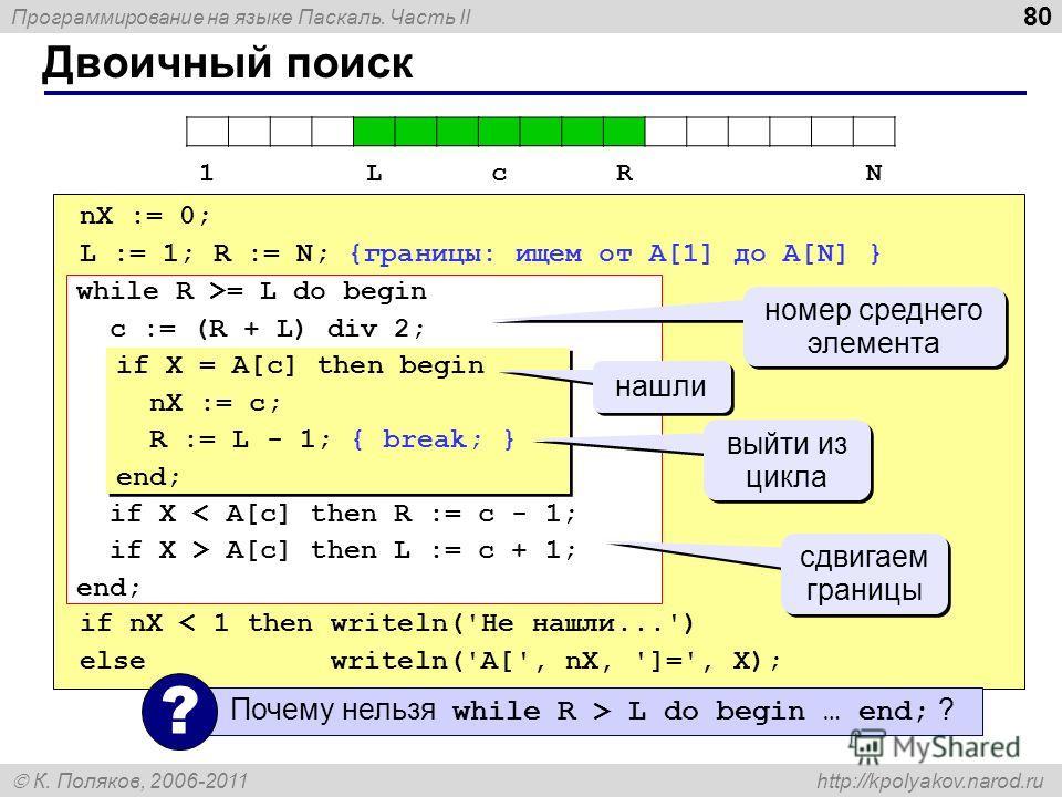 Программирование на языке Паскаль. Часть II К. Поляков, 2006-2011 http://kpolyakov.narod.ru Двоичный поиск 80 nX := 0; L := 1; R := N; {границы: ищем от A[1] до A[N] } if nX < 1 then writeln('Не нашли...') else writeln('A[', nX, ']=', X); while R >=