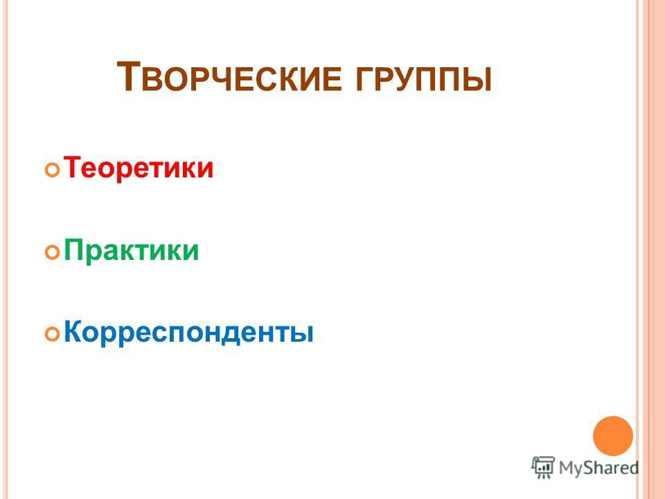 Т ВОРЧЕСКИЕ ГРУППЫ Теоретики Практики Корреспонденты