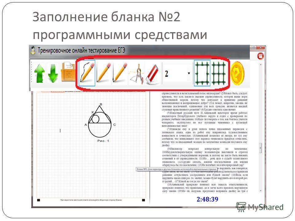 Заполнение бланка 2 программными средствами
