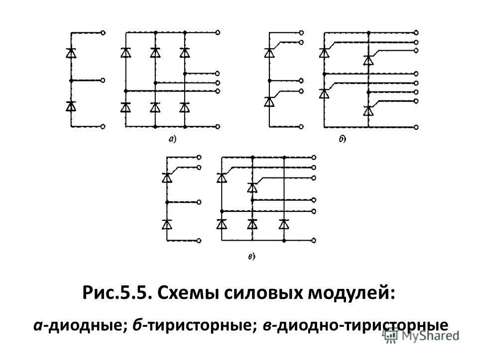Рис.5.5. Схемы силовых модулей: а-диодные; б-тиристорные; в-диодно-тиристорные