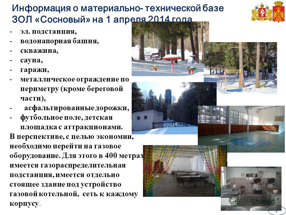 Информация о материально- технической базе ЗОЛ «Сосновый» на 1 апреля 2014 года -эл. подстанция, -водонапорная башня, -скважина, -сауна, -гаражи, -металлическое ограждение по периметру (кроме береговой части), - асфальтированные дорожки, -футбольное