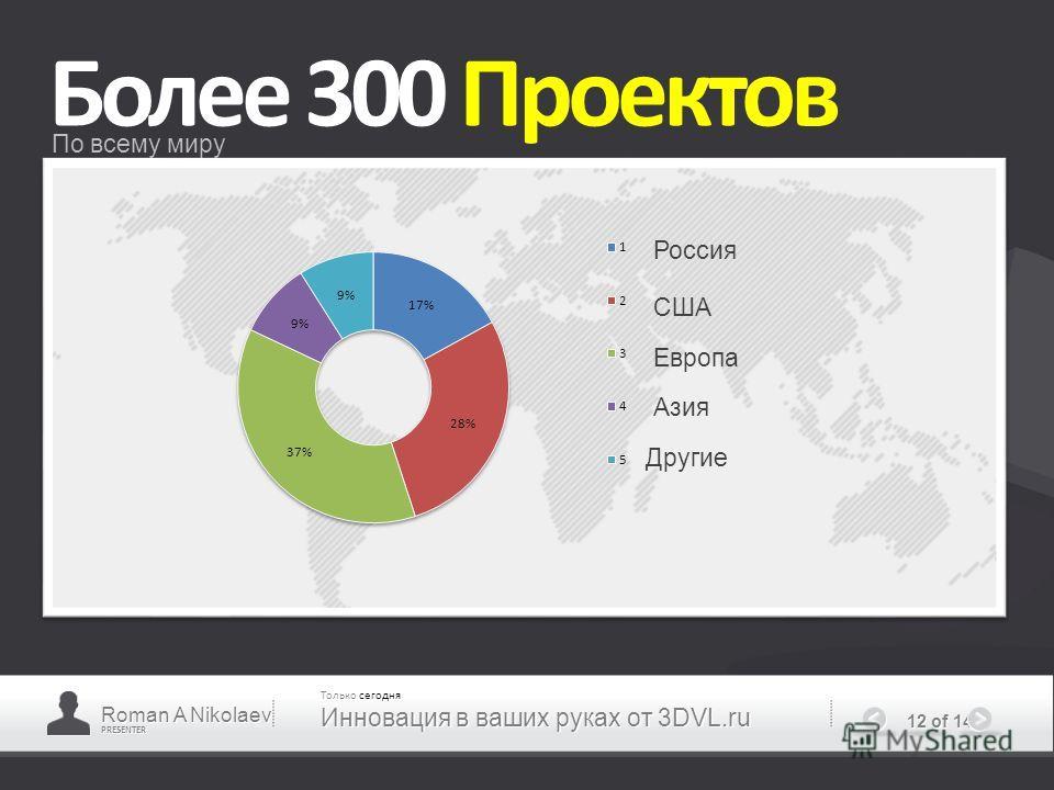 PRESENTER 12 of 14 Более 300 Проектов По всему миру Roman A Nikolaev Только сегодня Инновация в ваших руках от 3DVL.ru Европа США Россия Азия Другие