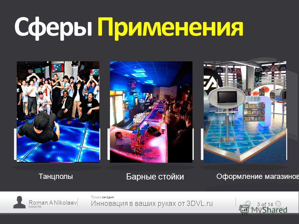 PRESENTER 3 of 14 Сферы Применения Танцполы Барные стойки Оформление магазинов Roman A Nikolaev Только сегодня Инновация в ваших руках от 3DVL.ru