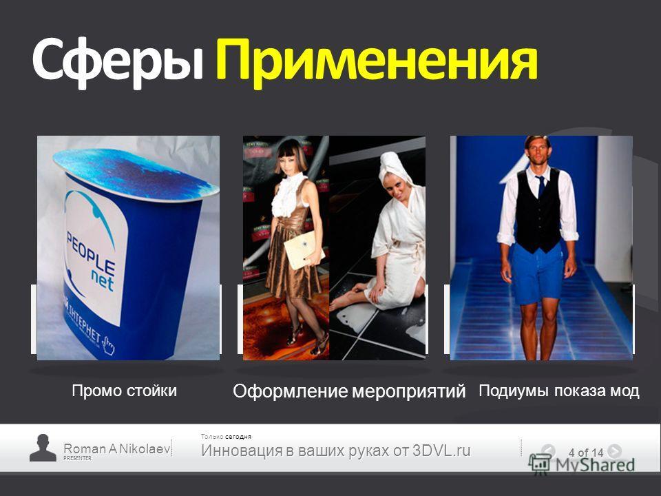 PRESENTER 4 of 14 Сферы Применения Промо стойки Оформление мероприятий Подиумы показа мод Roman A Nikolaev Только сегодня Инновация в ваших руках от 3DVL.ru
