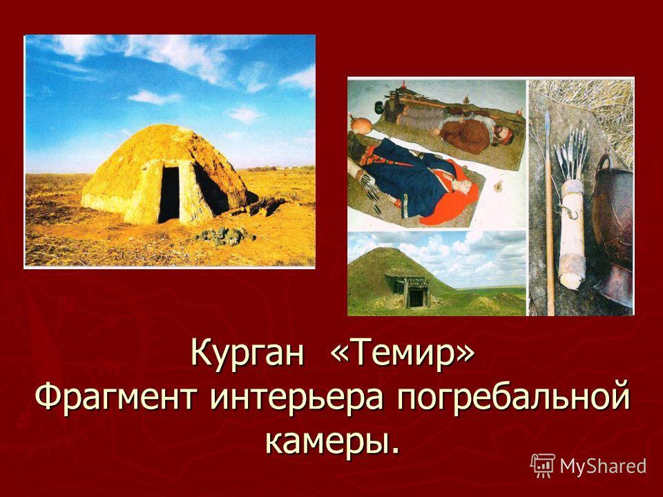 Курган «Темир» Фрагмент интерьера погребальной камеры.