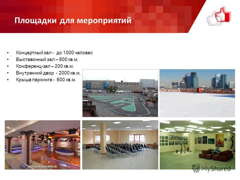 Площадки для мероприятий Концертный зал - до 1000 человек Выставочный зал – 600 кв.м. Конференц-зал – 200 кв.м. Внутренний двор - 2000 кв.м. Крыша паркинга - 600 кв.м.