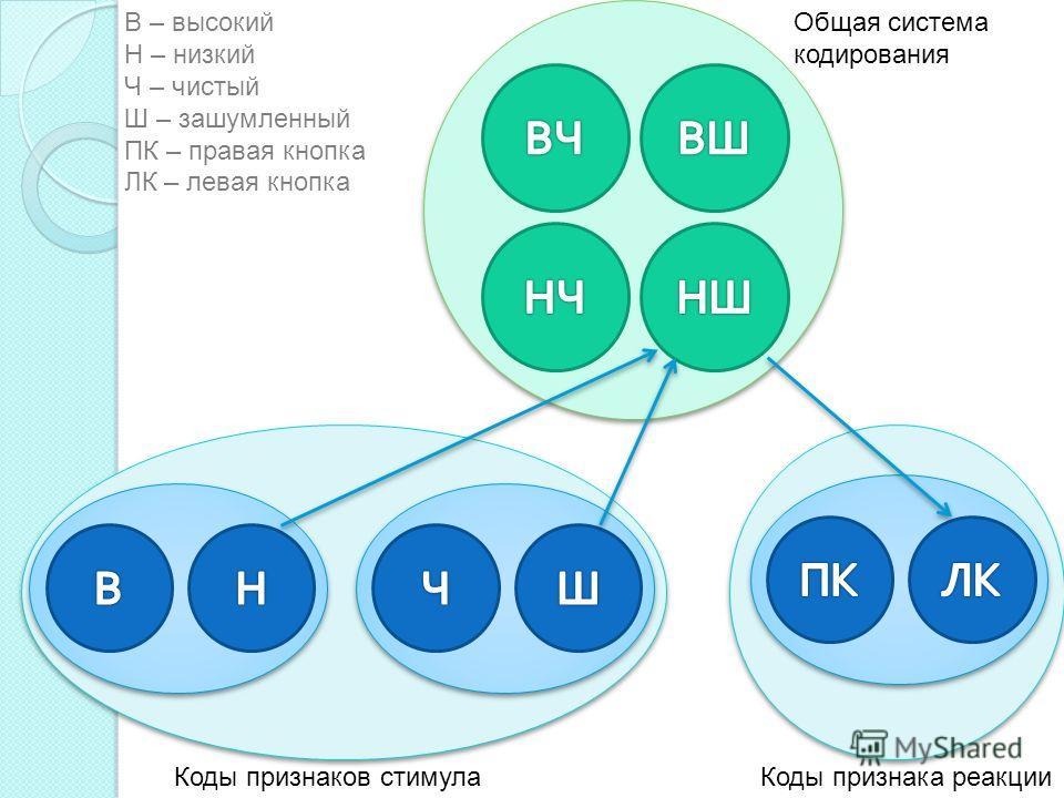 Общая система кодирования Коды признаков стимулаКоды признака реакции В – высокий Н – низкий Ч – чистый Ш – зашумленный ПК – правая кнопка ЛК – левая кнопка
