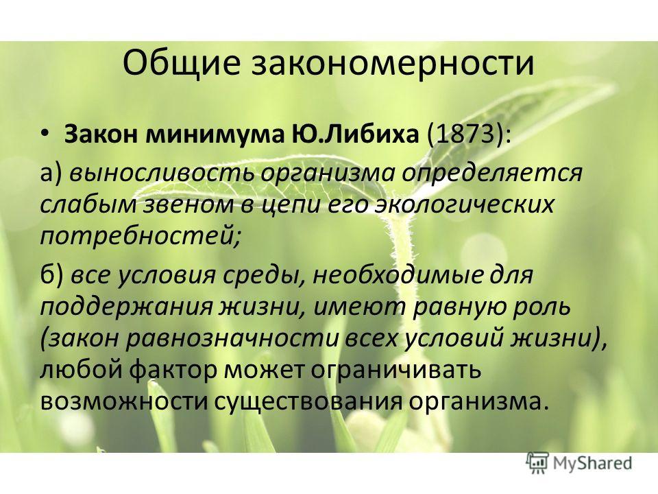 Закон минимума Ю.Либиха (1873): а) выносливость организма определяется слабым звеном в цепи его экологических потребностей; б) все условия среды, необходимые для поддержания жизни, имеют равную роль (закон равнозначности всех условий жизни), любой фа