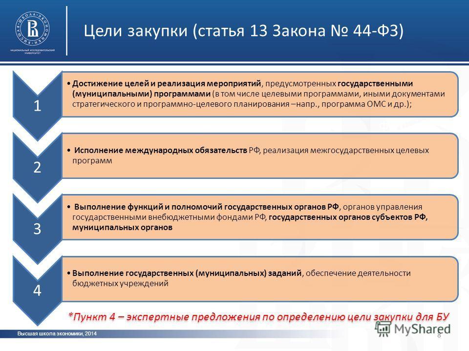 Высшая школа экономики, 2014 фото 8 Цели закупки (статья 13 Закона 44-ФЗ) 1 Достижение целей и реализация мероприятий, предусмотренных государственными (муниципальными) программами (в том числе целевыми программами, иными документами стратегического