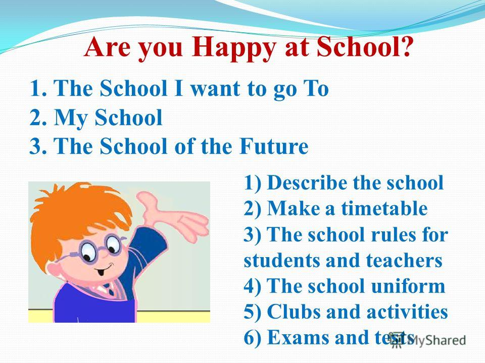 Are you Happy at School? 1. The School I want to go To 2. My School 3. The School of the Future 1) Describe the school 2) Make a timetable 3) The school rules for students and teachers 4) The school uniform 5) Clubs and activities 6) Exams and tests