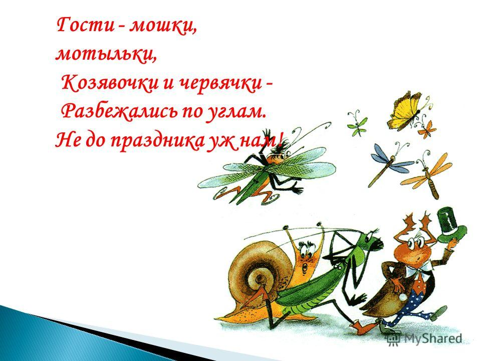 Гости - мошки, мотыльки, Козявочки и червячки - Разбежались по углам. Не до праздника уж нам!
