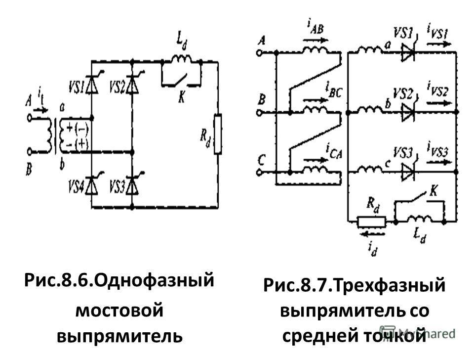 Рис.8.6.Однофазный мостовой выпрямитель Рис.8.7.Трехфазный выпрямитель со средней точкой
