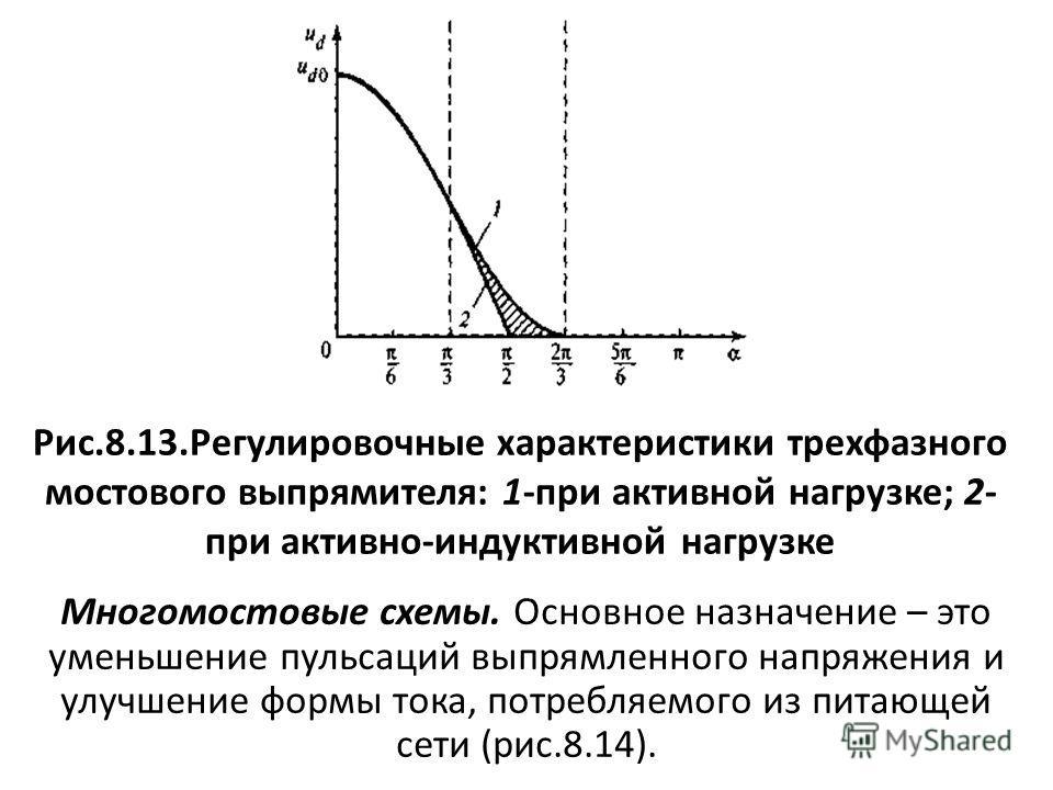 Рис.8.13.Регулировочные характеристики трехфазного мостового выпрямителя: 1-при активной нагрузке; 2- при активно-индуктивной нагрузке Многомостовые схемы. Основное назначение – это уменьшение пульсаций выпрямленного напряжения и улучшение формы тока