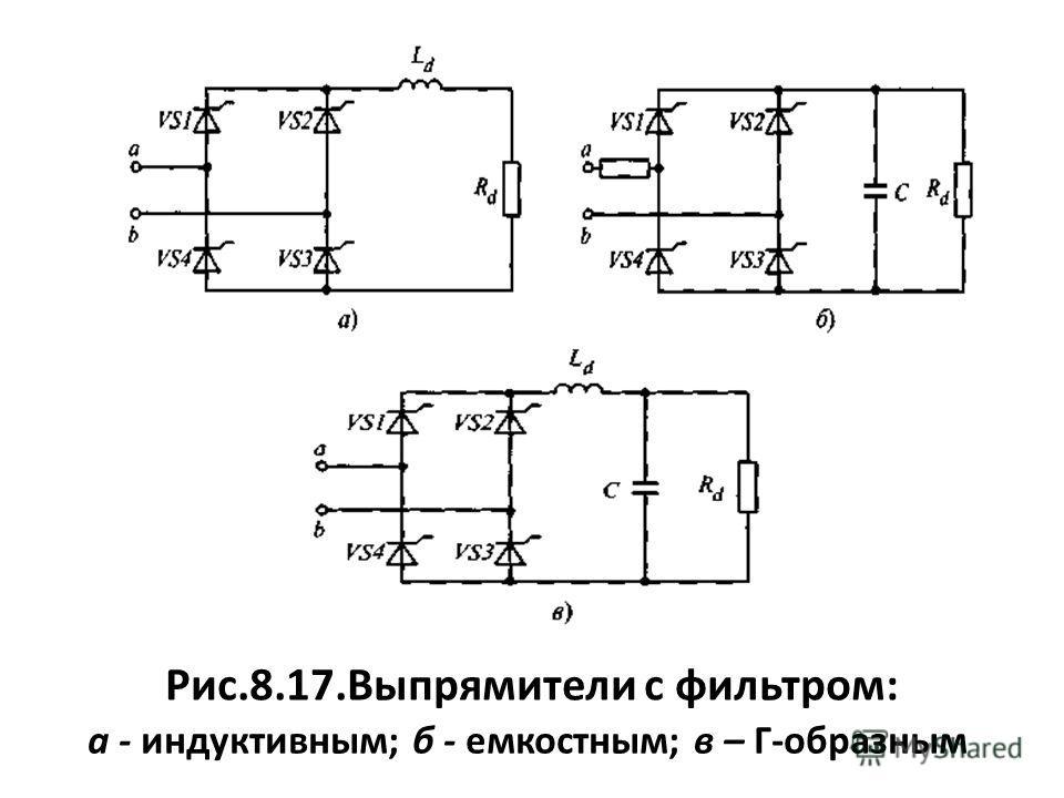Рис.8.17.Выпрямители с фильтром: а - индуктивным; б - емкостным; в – Г-образным