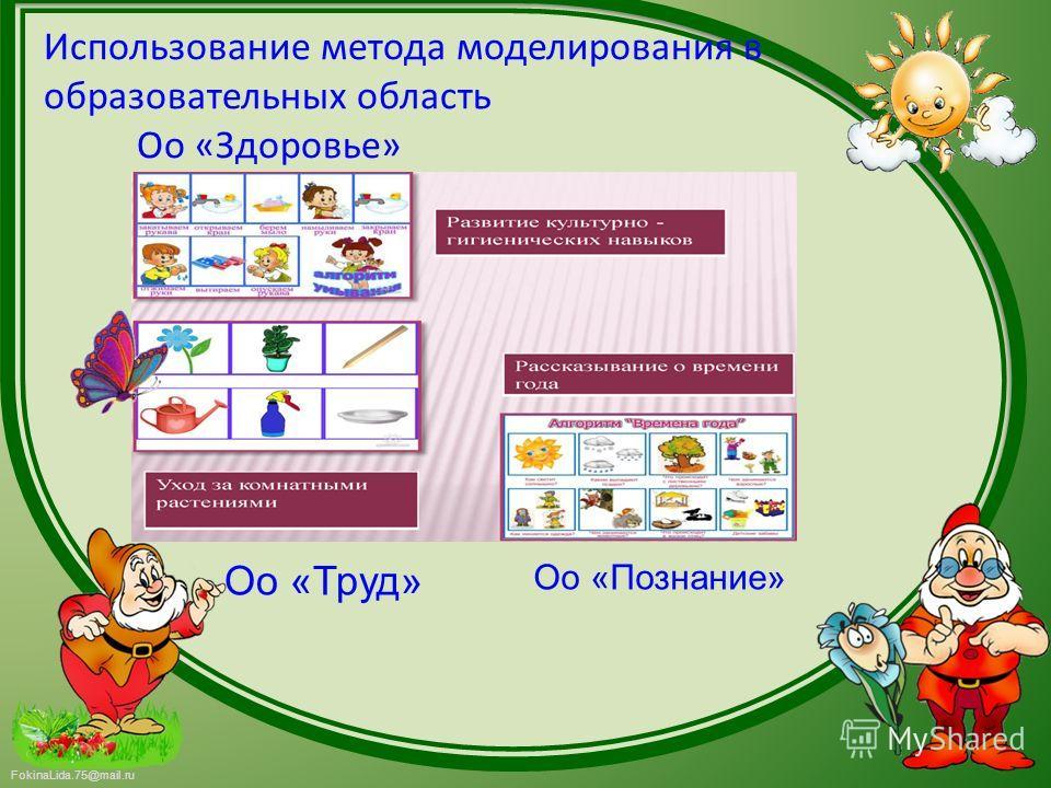 FokinaLida.75@mail.ru Использование метода моделирования в образовательных область Оо «Здоровье» Оо «Труд» Оо «Познание»