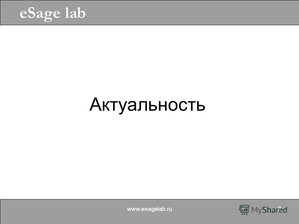 eSage lab www.esagelab.ru2 Актуальность