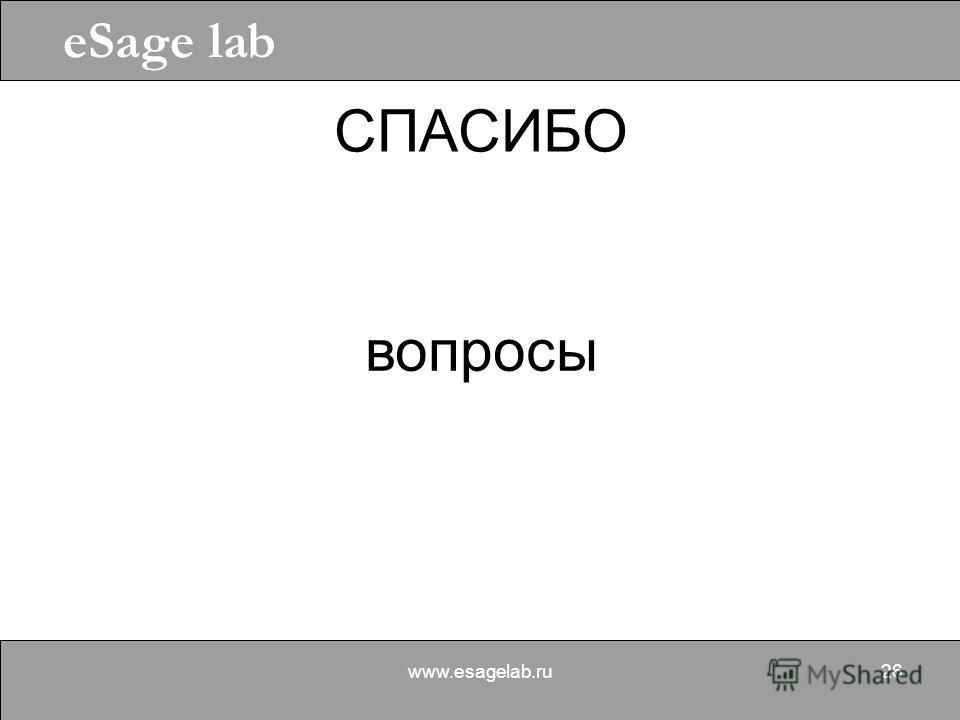 eSage lab www.esagelab.ru26 СПАСИБО вопросы