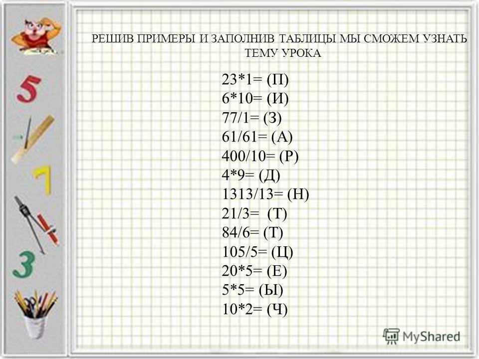РЕШИВ ПРИМЕРЫ И ЗАПОЛНИВ ТАБЛИЦЫ МЫ СМОЖЕМ УЗНАТЬ ТЕМУ УРОКА 23*1= (П) 6*10= (И) 77/1= (З) 61/61= (А) 400/10= (Р) 4*9= (Д) 1313/13= (Н) 21/3= (Т) 84/6= (Т) 105/5= (Ц) 20*5= (Е) 5*5= (Ы) 10*2= (Ч)