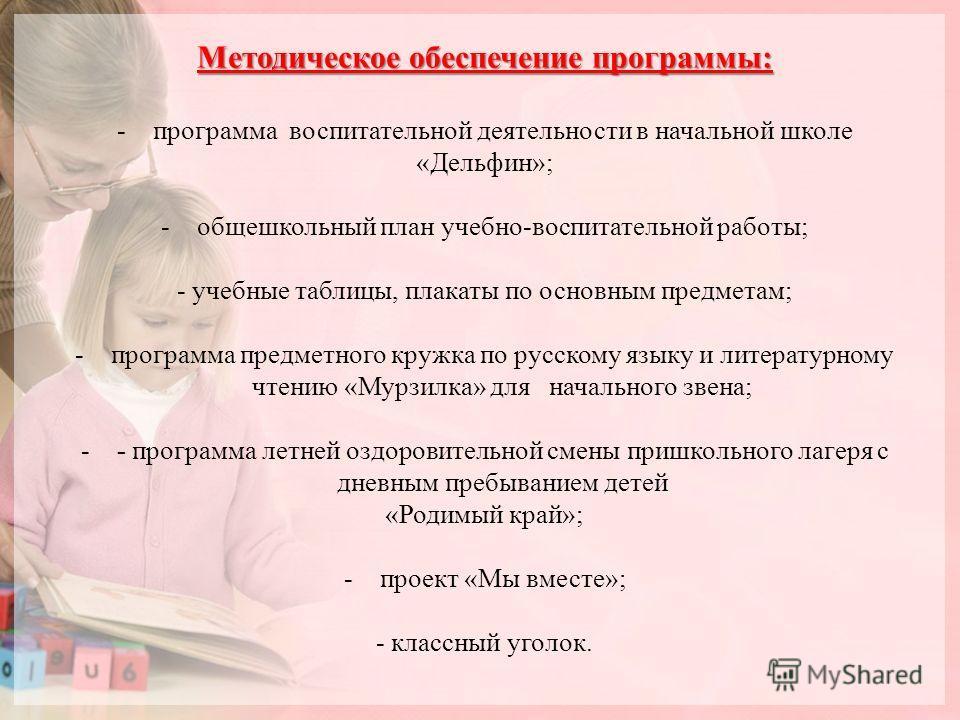 Методическое обеспечение программы: -программа воспитательной деятельности в начальной школе «Дельфин»; -общешкольный план учебно-воспитательной работы; - учебные таблицы, плакаты по основным предметам; -программа предметного кружка по русскому языку
