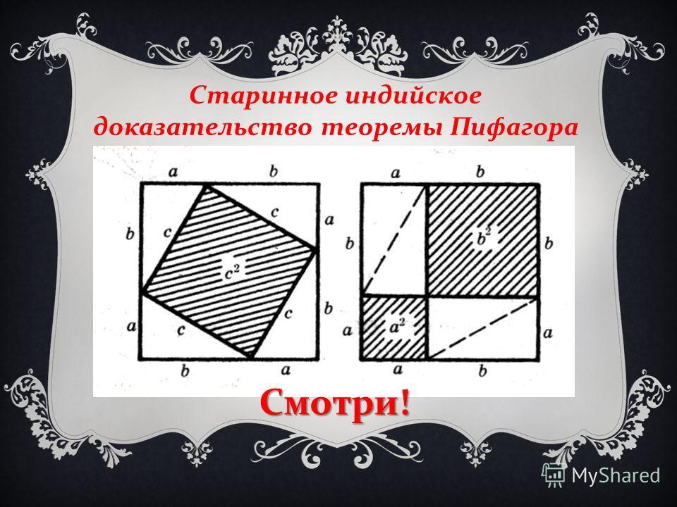 Старинное индийское доказательство теоремы Пифагора Смотри !
