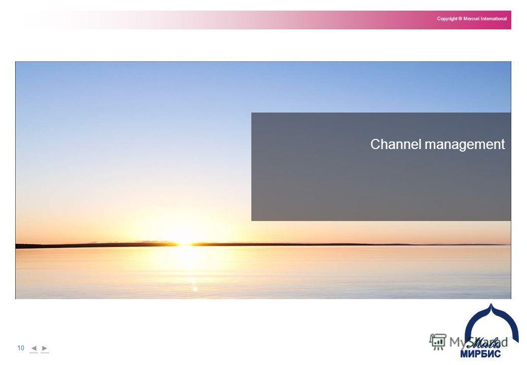 10 Copyright © Mercuri International Channel management