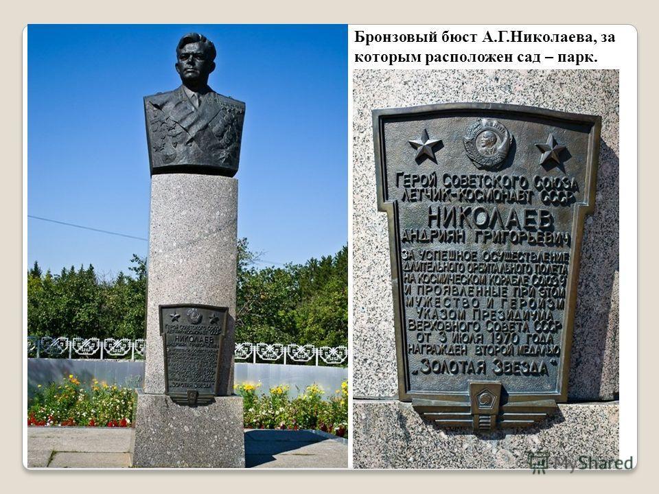 Бронзовый бюст А.Г.Николаева, за которым расположен сад – парк.
