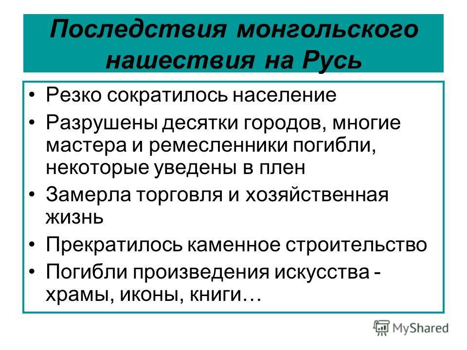 Последствия монгольского нашествия на Русь Резко сократилось население Разрушены десятки городов, многие мастера и ремесленники погибли, некоторые уведены в плен Замерла торговля и хозяйственная жизнь Прекратилось каменное строительство Погибли произ