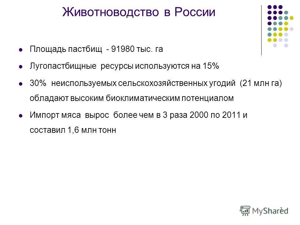 7 Животноводство в России Площадь пастбищ - 91980 тыс. га Лугопастбищные ресурсы используются на 15% 30% неиспользуемых сельскохозяйственных угодий (21 млн га) обладают высоким биоклиматическим потенциалом Импорт мяса вырос более чем в 3 раза 2000 по