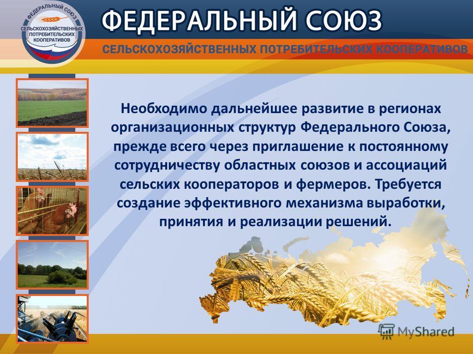 Необходимо дальнейшее развитие в регионах организационных структур Федерального Союза, прежде всего через приглашение к постоянному сотрудничеству областных союзов и ассоциаций сельских кооператоров и фермеров. Требуется создание эффективного механиз