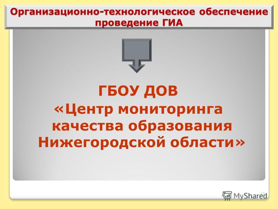12 Организационно-технологическое обеспечение проведение ГИА ГБОУ ДОВ «Центр мониторинга качества образования Нижегородской области»