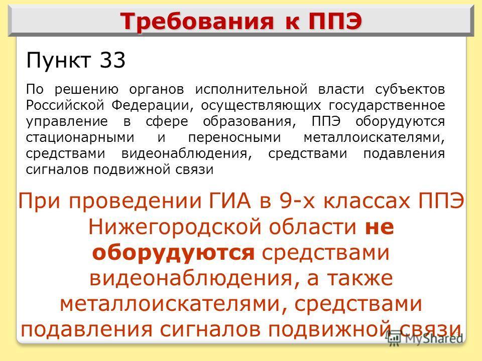 23 Требования к ППЭ Пункт 33 По решению органов исполнительной власти субъектов Российской Федерации, осуществляющих государственное управление в сфере образования, ППЭ оборудуются стационарными и переносными металлоискателями, средствами видеонаблюд