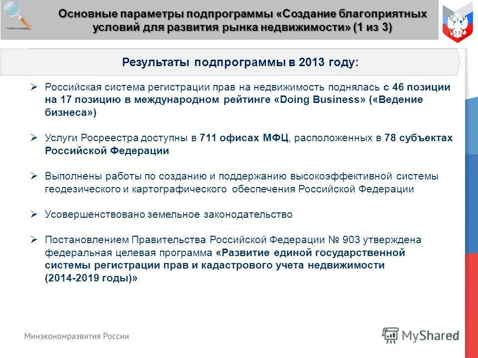 16 Результаты подпрограммы в 2013 году: Российская система регистрации прав на недвижимость поднялась с 46 позиции на 17 позицию в международном рейтинге «Doing Business» («Ведение бизнеса») Услуги Росреестра доступны в 711 офисах МФЦ, расположенных