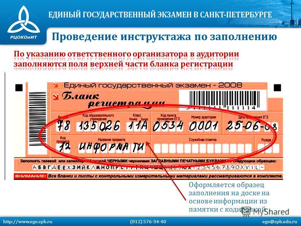 Оформляется образец заполнения на доске на основе информации из памятки с кодировкой Проведение инструктажа по заполнению http://www.ege.spb.ru (812) 576-34-40 ege@spb.edu.ru