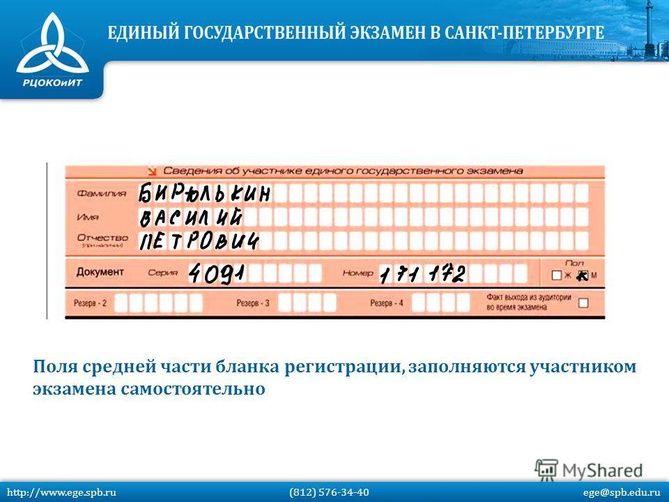Поля средней части бланка регистрации, заполняются участником экзамена самостоятельно http://www.ege.spb.ru (812) 576-34-40 ege@spb.edu.ru