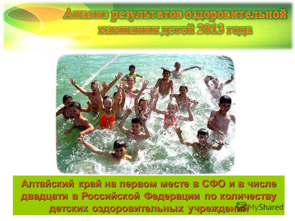 Алтайский край на первом месте в СФО и в числе двадцати в Российской Федерации по количеству детских оздоровительных учреждений