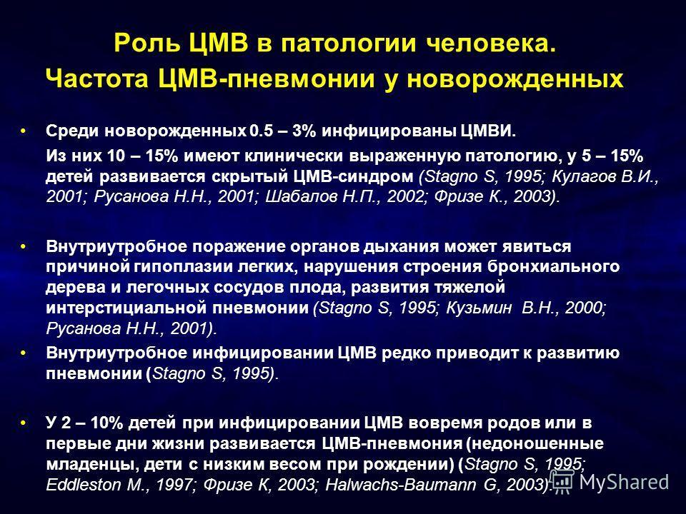 Роль ЦМВ в патологии человека.