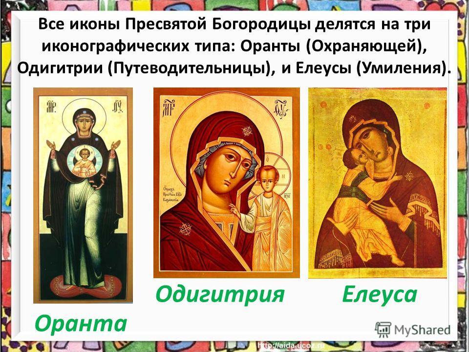 Все иконы Пресвятой Богородицы делятся на три иконографических типа: Оранты (Охраняющей), Одигитрии (Путеводительницы), и Елеусы (Умиления). Оранта ОдигитрияЕлеуса