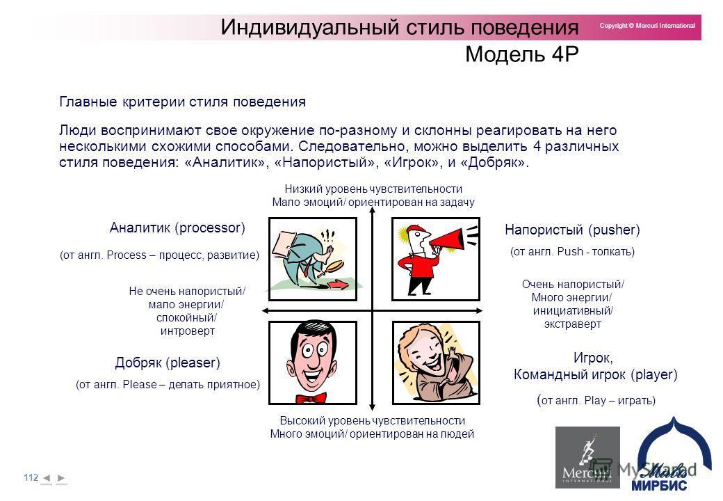 112 Copyright © Mercuri International Индивидуальный стиль поведения Модель 4P Люди воспринимают свое окружение по-разному и склонны реагировать на него несколькими схожими способами. Следовательно, можно выделить 4 различных стиля поведения: «Аналит