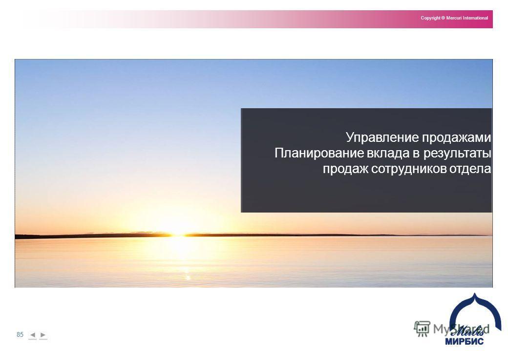 85 Copyright © Mercuri International Управление продажами Планирование вклада в результаты продаж сотрудников отдела