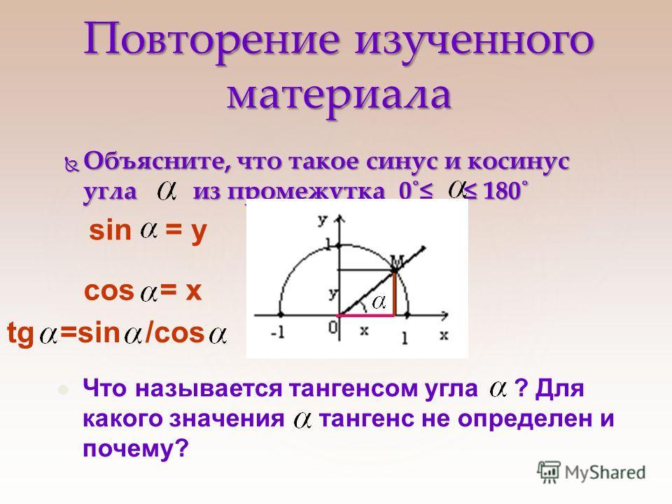 Повторение изученного материала Объясните, что такое синус и косинус угла из промежутка 0˚ 180˚ Объясните, что такое синус и косинус угла из промежутка 0˚ 180˚ Что называется тангенсом угла ? Для какого значения тангенс не определен и почему? sin = у